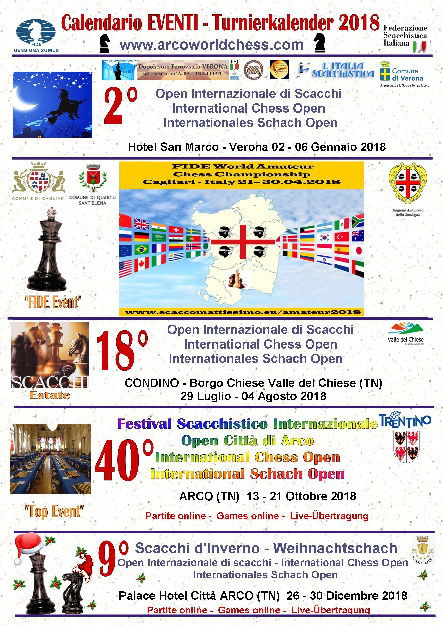 Calendario Tornei Scacchi.Calendario 2018 Arcoworldchess Com